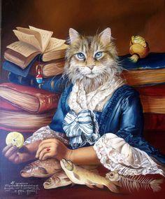 Animalitudes de Sylvia Karle-Marquet - Du côté de chez PLK - Anthropomorphic cat portrait.