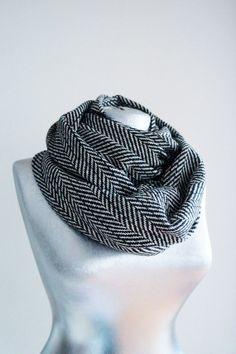 Handmade Herringbone  Infinity Scarf - Tweed - Black White - Winter Autumn Scarf