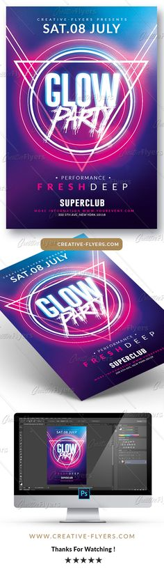 "Club Flyer Template ! If you liked this style, enjoy downloading this Photoshop Psd Template ""Glow Party Flyer"". #flyer #glow #party #flyertemplate #graphic #design #glowparty #creative #night #club #posters #electro #festival #neon #effects #lights"