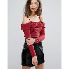 Daisy Street Off The Shoulder Ruffle Top In Rib ($22) ❤ liked on Polyvore featuring tops, sweaters, red, red off the shoulder top, off-the-shoulder ruffle tops, off the shoulder sweater, cropped tops and red sweater