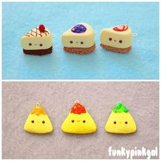 Polymer Clay Cheesecakes and Tortilla Chips Fimo Kawaii, Polymer Clay Kawaii, Kawaii Crafts, Polymer Clay Charms, Polymer Clay Creations, Christmas Phone Wallpaper, Doll Food, Clay Food, Clay Figures