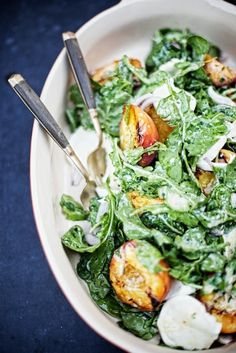Beautiful salad with grilled peaches & fresh mozzarella!