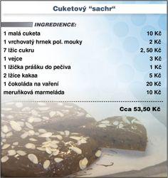 Levně a chutně - Recept na Cuketový Cooking Recipes, Sweets, Baking, Gummi Candy, Chef Recipes, Candy, Bakken, Goodies, Backen