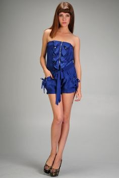 abce2e693ae Women s strapless romper with delicate ruffles and smocked drawstring waist   29.99 Strapless Romper