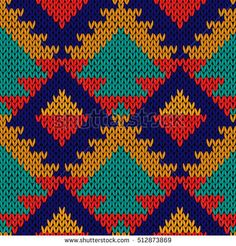Knitted geometric motley background in red, orange, turquoise and blue colours, seamless knitting vector pattern as a fabric texture Tapestry Crochet Patterns, Fabric Patterns, Beading Patterns, Embroidery Patterns, Stitch Patterns, Fabric Textures, Knitting Charts, Knitting Patterns, Tapete Floral