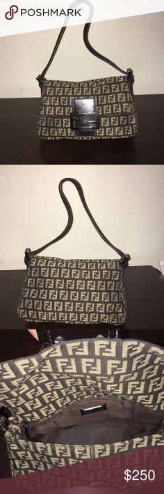 Purse Fendi Zucca Monogram Black/Brown Vintage Purse Clutch Fendi Bags Mini Bags