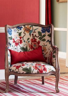 SUMMER CHOICE - Persian Pomegranate Fabric from GP J Baker - bought this as a summer choice. Home Interior, Interior Decorating, Interior Design, Floral Chair, Hand Painted Wallpaper, Antique Chairs, Chair Fabric, Upholstered Furniture, Sofa Chair