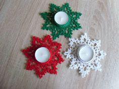 Crochet Christmas Ornaments, Christmas Crafts, Christmas Decorations, Xmas, Christmas Gingerbread, Diy Candles, Tea Light Holder, Tea Lights, Crochet Projects