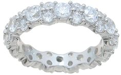 Sterling Silver CZ Wedding Band Eternity Ring for Women