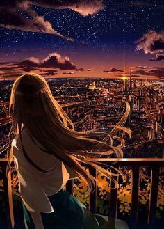 grafika anime, city, and anime girl