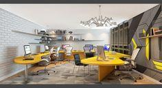 Perspectiva ilustrada de uma unidade de 46,68 m²  com sugestão de decoração para uma agência de Web Design