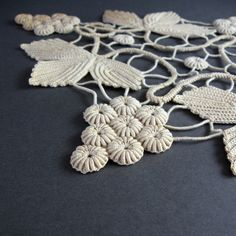 Beautiful Antique Crochet Lace  Ivory Grapes & Leaves