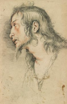 Bernardo Strozzi Head of Christ. Verso: Bust of a Woman Wearing a Crown; a Sculptured Head; and a Nude Figure Carrying Another, Life Drawing, Painting & Drawing, Trois Crayons, Illustrations, Illustration Art, Drawing Studies, Toned Paper, Morgan Library, Chalk Drawings