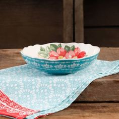 "The Pioneer Woman Vintage Floral 7.5"" Teal Pasta Bowl - Walmart.com"