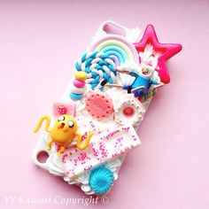 Custom Adventure Time Kawaii Decoden Whipped cream style phone case for iPhone 4/4s 5 Samsung galaxy S5 S3 S4 mini and HTC One