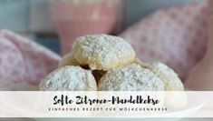 Simple recipe for soft lemon and almond biscuits Wölkchenkekse Sweet Recipes, Buffet, Cereal, Biscuits, Almond, Muffins, Bakery, Easy Meals, Low Carb
