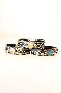 #Western Style #Leather Natural Stone Silver Tone Ethnic Bangle #Boho #Bracelet