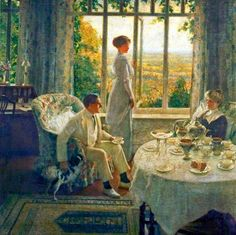 ~ Leonard Campbell Taylor ~ British artist, 1874-1969: Summer Afternoon Oil Painting For Beginners, Painting Videos, Gravure Illustration, Illustration Art, Pierre Auguste Cot, Oil Painting Reproductions, Art Uk, Art History, Les Oeuvres