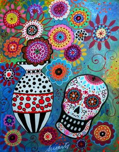 OFRENDA. Dia de los Muertos Painting by Prisarts on Ebay. Penny auction