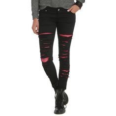 Tripp Black Destroyed Pink Mesh Skinny Pants | Hot Topic ($32) ❤ liked on Polyvore