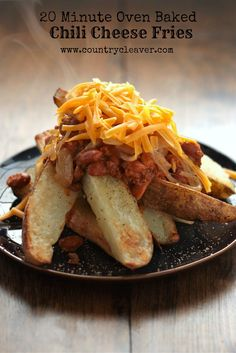 20 Minutes Oven Baked Chili Cheese Fries