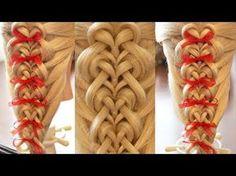 "Коса на резинках - ""Калейдоскоп - сердца"" - 3 - YouTube"