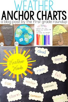 Weather Anchor Chart Roundup - I LOVE a good anchor chart! Here's a look at 12 of my favorite anchor charts for our weather unit in first grade! Employing Maps as well as Topographical Routes Anchor Charts First Grade, Science Anchor Charts, Kindergarten Anchor Charts, Kindergarten Science, Elementary Science, Science Classroom, Science Education, Science Experiments, Science Ideas