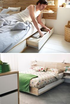 9 Ideas For Under-The-Bed Storage // This IKEA bed comes with four large drawers and a headboard with built in shelves, providing storage for both the big things you want tucked away and the little things you want to keep close by and on display.
