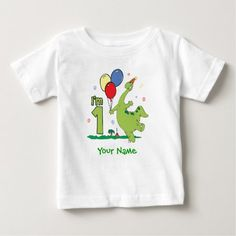 Dino First Birthday Personalized Baby T-Shirt - tap, personalize, buy right now!