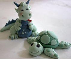 Gumpaste Dragon and Turtle