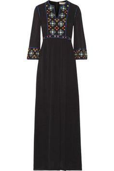 Tory Burch - Jordana Embellished Silk-georgette Maxi Dress - Black