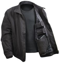 Rothco's 3 Season Concealed Carry Jacket will keep you warm from the fall to the spring season; the jacket features a washed cotton outer shell and polyester inner lining. The casual jacket comes with a tactical twist Khaki Jacket, Leather Jacket, Cotton Jacket, Edc, Concealed Carry Jacket, Concealed Handgun, Tactical Jacket, Tactical Gear, Tactical Store