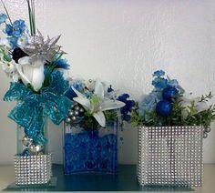 Arranjos Prata e Azul , com vasos decorados