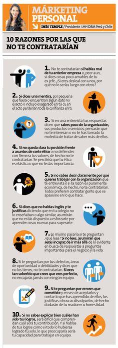 10 razones por las que no te contratarían #empleo