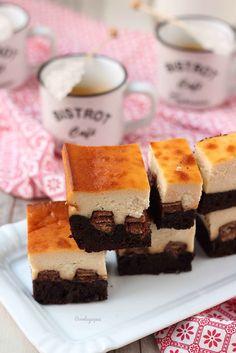 Kit-kat brownie cheesecake {by Paula, Con las Zarpas en la Masa} Kit Kat Brownies, Cheesecake Brownies, Macarons, Tiramisu, Ethnic Recipes, Desserts, Grande, Bikini, Food