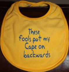 Embroidered Bib for BabyBackwards Cape YELLOW by Babies2Bowwows, $6.50