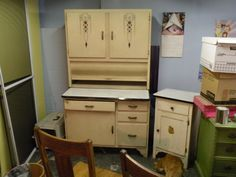 Hoosier cabinet Vintage 1920's w/matching small cabinet orig paint metal top #MissionArtsCrafts