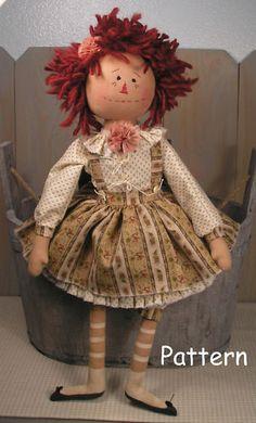 PATTERN Primitive Raggedy Ann Rose Cloth Fabric Doll Folk Art Sewing Craft #42 | eBay