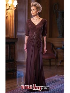 Slimy Alluring 2012 V-neck Beaded Ruched Chiffon Long Burgundy Mother of the Bride/ Groom Dresses