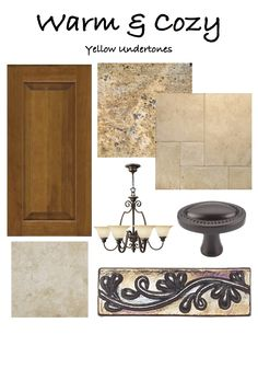 """What style kitchen do you love? Here is a sample board of a """"Warm & Cozy"""" look. You'll find warm tones, gold granites and paint colors to match. Keep the undertones the same :-)"""