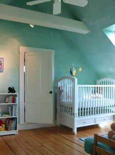 Great Aqua Color in this Venetian Plaster Wall Treatment  www.AtticMag.com