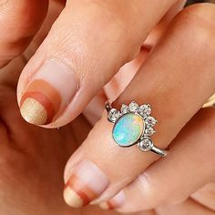 Opal engagement rings   everyday fine jewelry Alternative Bridal Jewellery, Fine Jewelry, Jewelry Making, Right Hand Rings, Coco Chanel, Bridal Jewelry, Opal, Turquoise, Engagement Rings