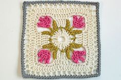 """Pattern: Tulip Dishcloth by Doni Speigle Hook used: G (however I should have used a 4.5mm to get to 8"""" comfortably) Colors Used: I love this yarn's Grey Beard, Ivory, Hot Rose, and Old Leaf. Happy Easter! I thought this tulip square was appropriate for today. It's a pretty easy..."""