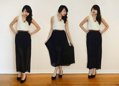 Sheer Pleated Black Asos Maxi Skirt, Asos Sleeveless Double Collar Blouse, H&M Wedges (3)