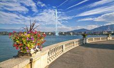"""O lindo Jet d""""Eau em Genebra (Geneva).  Leia mais sobre essa linda cidade suíça lá no blog!:"""