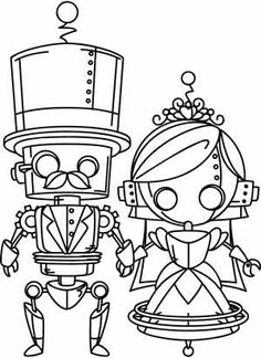 Coloring Page World: Steampunk Wedding