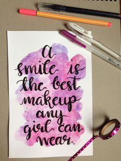 quotes From charlizzeyy Watercolor Calligraphy - quotes Watercolor Calligraphy Quotes, Calligraphy Quotes Doodles, Brush Lettering Quotes, Doodle Quotes, Watercolor Quote, Calligraphy Handwriting, Hand Lettering Quotes, Calligraphy Art, Doodle Art