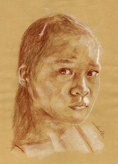 Croquis Jeune fille, sépia sur Kraft 170115 : Dessins par philippeflohic
