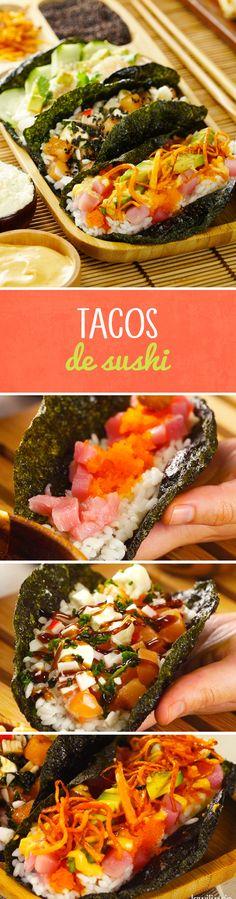 Si te fascinan los tacos, esta receta de tacos de sushi inspirados en la cocina japonesa son una opción rápida y muy fácil si no tienes los utensilios para hacer rollos de sushi o conos de sushi. ¡Pruébalos!