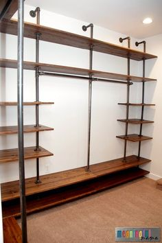 Dressing Room DIY Industrial Pipe Walk-In Closet Kitchen Remodeling - Your Kitchen Lighting Article Industrial Farmhouse Decor, Industrial Home Design, Industrial Closet, Industrial Pipe, Industrial House, Industrial Bedroom, Vintage Industrial, Industrial Interiors, Industrial Office